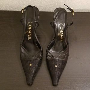 Chanel Slingback Black Heels Sandals 39 EUC